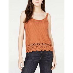 Freshman Pointelle-Knit Tank Orange Knitted Top